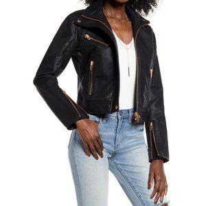 Blank NYC Essentials Moto Jacket Black Gold Edgy